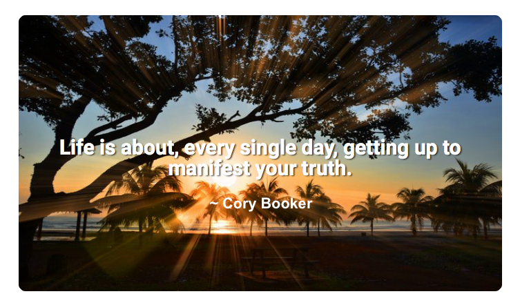 Life is about, every single day, getting up to manifest your truth. ~ Cory Booker